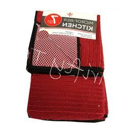7 pcs Red Kitchen Linen Set Sponge Kitchen Towels Dish Cloth