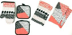 7 Piece Kitchen Set 4 Towels 2 Pot Holders and 1 Oven Mitt M