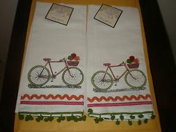 "ARTISTIC ACCENTS 20"" X 20""  KITCHEN TOWEL SET OF 2 BIKES NEW"