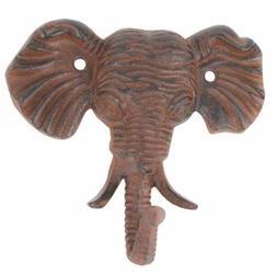 Antiqued Reproduction Cast Iron Elephant Head Single Hook Wa