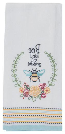 BEE KIND AND GRATEFUL Embroidered Kitchen Tea Towel by Kay D