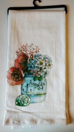 Beach House Flora  - Krinkle Kitchen Flour Sack Towel  #R328