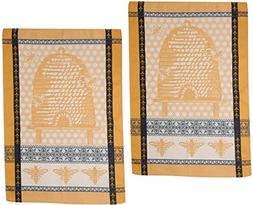 Bee Hive Cotton Jacquard Kitchen Towels, Set of 2