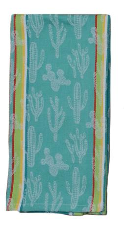 CACTUS GARDEN Kitchen Tea Towel Jacquard Weave Cotton Kay De
