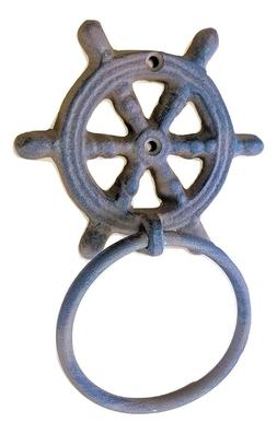 "Cast Iron Ships Wheel Towel Ring 4"" Helm Nautical Decor Bath"