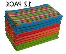 Cotton Craft 12 Pack Salsa Stripe Multi-Color Kitchen Towels