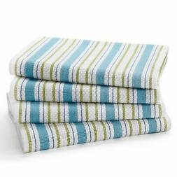 Cotton Craft - 4 Pack - Basket Weave Kitchen Towels -Periwin
