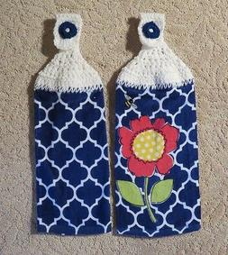 Crocheted top kitchen towels- Royal Blue Flower Towels with