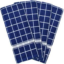 "DII Cotton Terry Windowpane Dish Towels, 16 x 26"" Set of 4,"
