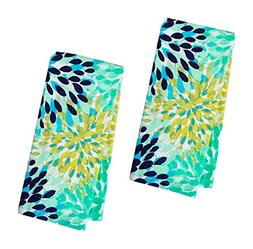 Fiesta Calypso Turquoise Floral Terry Kitchen Towel, Set of
