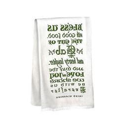 Gift of Gab Tea Towels - Irish Blessing Green /White Kitchen