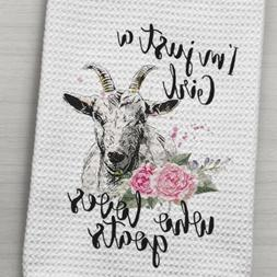 Goat Kitchen Waffle Weave Towel Girl who loves goats