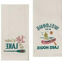 Kay Dee Designs Lake House Embroidered Kitchen Towels Set -