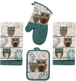 Kay Dee Spice Road Retro Owl Set - 2 Towels, Oven Mitt, Poth