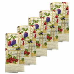 Kitchen Collection 5-Piece Fruit Mix Towel Set, Cream, 15x25
