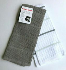 KitchenAid 2 Pack Kitchen Dish Towels Gray and White with Gr