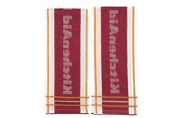 KitchenAid Kitchen Towel, Stripe, Fire Red, 2 Pack