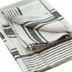 LinenMe Set of 2 Provence Linen Hand Towels, Standard, Black
