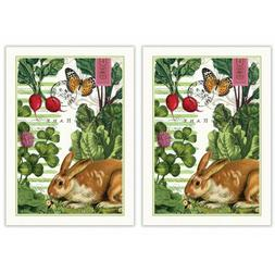 Michel Design Works Bunnies Kitchen Towel, Natural Woven Cot
