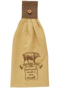 New Primitive Country Farmhouse Kitchen HOG HEAVEN TOWEL Pig