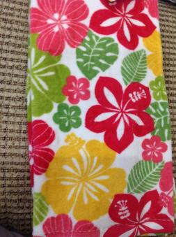 RITZ  KITCHEN TEA TOWELS  TROPICAL FLOWERS PINK YELLOW 100%