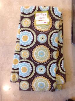 RITZ  KITCHEN TOWELS BROWN GOLD GREEN BLUE 100% COTTON  NWT