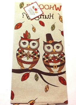 Ritz Kitchen Chambray Tea Towel Owl Whooo's Hungry Autumn Th
