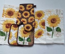 NEW -SUNFLOWER PATTERN-7 PC KITCHEN TOWEL SET- 2 DISH TOWELS