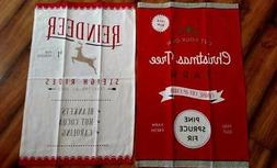 Set 2 NWT DII 100% Cotton Flour Sack Santa's Workshop CHRIST
