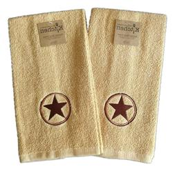 Set of 2 COWBOY STAR Western Embroidered Terry Kitchen Towel