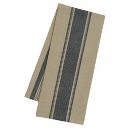 Set of 2 Design Imports FRENCH BLACK STRIPE Cotton Kitchen T