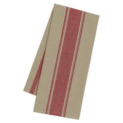 Set of 2 Design Imports RED FRENCH STRIPE Cotton Kitchen Tow