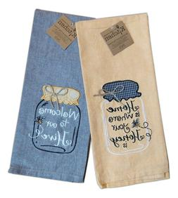 Set of 2 HONEY BEE Mason Jar Embroidered Kitchen Tea Towels