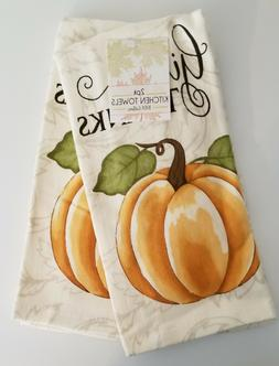 "Set of 2 Kitchen Towels, Pumpkin, ""Give Thanks"" 100% Cotton"