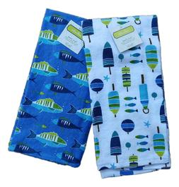 Set of 2 Nautical SALTWATER Fish & Buoy Terry Kitchen Towels