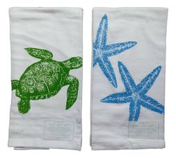 Set of 2 Nautical SEA TURTLE & STARFISH Flour Sack Kitchen T