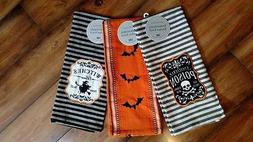 Set of 3 NWT DII 100% Cotton HALLOWEEN Kitchen TOWEL Witches