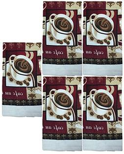 Set of 5, 100% Cotton Everyday Basic Printed Terry Kitchen T