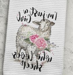 Sheep Kitchen Waffle Weave Towel Girl who loves sheep