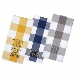 Sticky Toffee Cotton Gingham Flour Sack Kitchen Towels, Embr