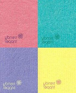 Swedish Dishcloth, Reusable Set of 4  Solid Mixed Colors