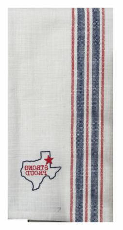 TEXAS Strong Proud Western Embroidered Woven TEA Kitchen TOW
