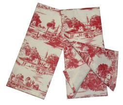 Toile French Country Dish Towel, Set of 2 Red