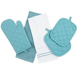 Topaz Kitchen Towel Set 5 Piece - Pot Holders, Oven Mitt and