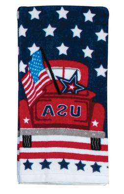 USA TRUCK American Flag Patriotic Terry Kitchen Towel by Kay