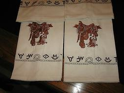 WESTERN KITCHEN TOWELS SADDLE BOOTS EMBROIDERED BRANDED DESI