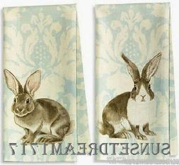 Williams Sonoma Easter Bunny Painterly Damask Kitchen Towels