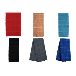 Absorbent Polyester Windowpane Pattern Kitchen Towels Assort