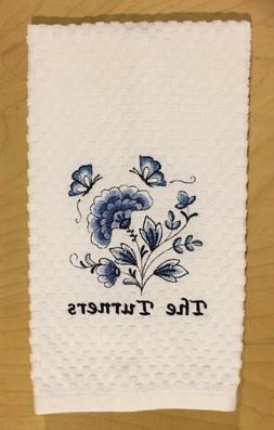 Add Personalize Name Monogram Embroidered Blue Floral Kitche
