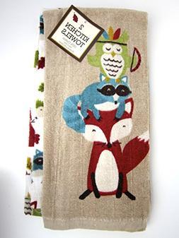 Adorable Forest Friends Autaum Set of 2 Kitchen Towels 100%
